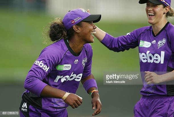 Hayley Matthews of the Hurricances celebrates taking the wicket of Kirby Short of the Heat during the Women's Big Bash League match between the...