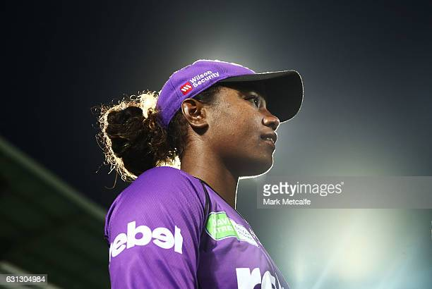 Hayley Matthews of the Hurricances looks on during the Women's Big Bash League match between the Brisbane Heat and the Hobart Hurricanes at...