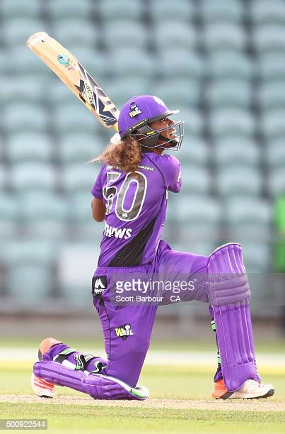 Hayley Matthews of the Hurricanes bats during the Women's Big Bash League match between the Melbourne Renegades and the Hobart Hurricanes at Aurora...