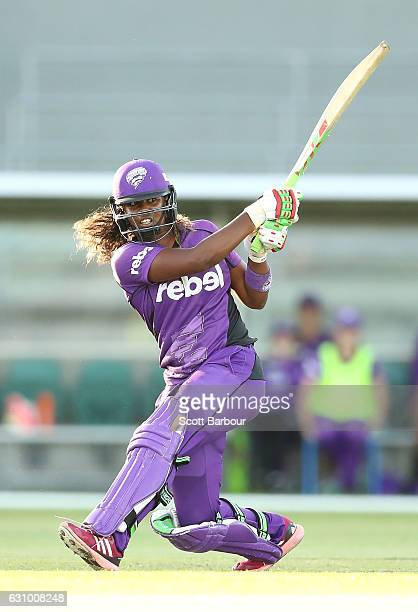 Hayley Matthews of the Hurricanes bats during the Women's Big Bash League match between the Sydney Thunder and the Hobart Hurricanes at Aurora...