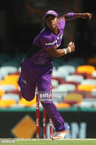 Hayley Matthews of the Hurricanes bowls during the Women's Big Bash League semi final match between the Sydney Sixers and the Hobart Hurricanes at...