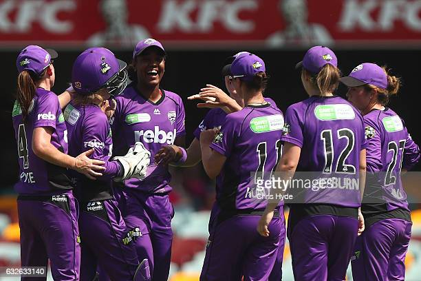 Hayley Matthews of the Hurricanes celebrates dismissing Alyssa Healy of the Sixers during the Women's Big Bash League semi final match between the...