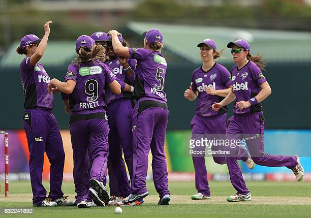Hayley Matthews of the Hurricanes celebrates the wicket of Natalie Sciver of the Melbourne Stars during the Women's Big Bash League match between the...