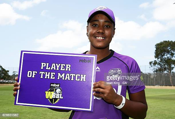 Hayley Matthews of the Hurricanes poses with the Player of the Match Award during the Women's Big Bash League match between the Hobart Hurricanes and...