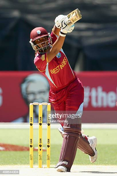 Hayley Matthews of the West Indies bats during game three of the International Women's Twenty20 match between Australia and the West Indies at...
