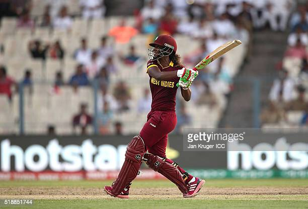Hayley Matthews of the West Indies hits out during the Women's ICC World Twenty20 India 2016 final match between Australia and West Indies at Eden...