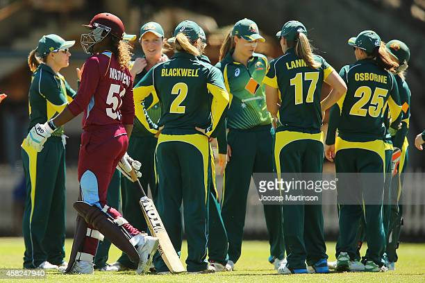 Hayley Matthews of West Indies looks dejected after ran out by Sarah Coyte of Australia during the women's International Twenty20 match between...