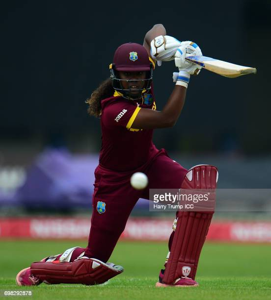 Hayley Matthews of West Indies Women bats during the ICC Women's World Cup Warm Up Match between West Indies Women and Pakistan Women at Grace Road...