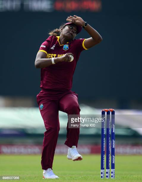 Hayley Matthews of West Indies Women bowls during the ICC Women's World Cup Warm Up Match between West Indies Women and Pakistan Women at Grace Road...