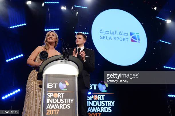 Hayley McQueen and Jake Humphrey present the Cutting Edge Sport award in association with Sela Sport during the BT Sport Industry Awards 2017 at...
