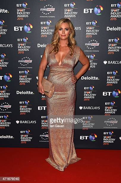 Hayley McQueen poses on the red carpet at the BT Sport Industry Awards 2015 at Battersea Evolution on April 30 2015 in London England The BT Sport...