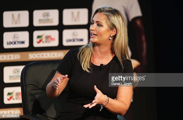 Hayley McQueen Sky Sports presenter talks during day 1 of the Soccerex Global Convention 2016 at Manchester Central Convention Complex on September...