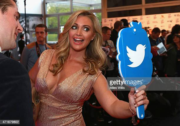 Hayley McQueen tweets on the red carpet at the BT Sport Industry Awards 2015 at Battersea Evolution on April 30 2015 in London England The BT Sport...