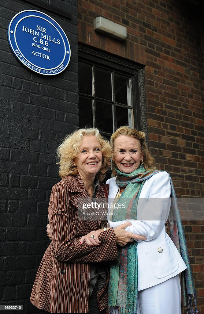 Hayley Mills and Juliet Mills attend a plaque unveiling for their father, the late actor, Sir John Mills at Pinewood Studios on May 9, 2010 in London, England.