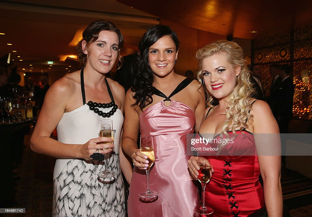 Hayley Moffat, Amelia Todhunter and Frizz Ferguson of the West Coast Waves attend the 2013 Basketball Australia MVP Awards at Crown Palladium on March 24, 2013 in Melbourne, Australia.