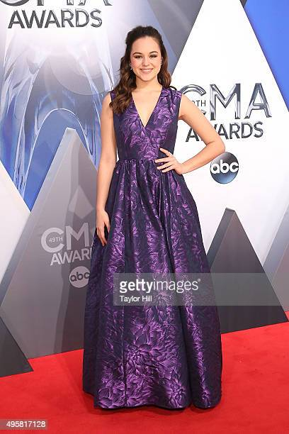 Hayley Orrantia attends the 49th annual CMA Awards at the Bridgestone Arena on November 4 2015 in Nashville Tennessee