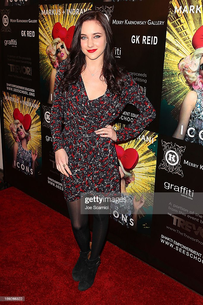 Hayley Ramm arrives at Markus + Indrani Icons book launch party hosted by Carmen Electra benefiting The Trevor Project at Merry Karnowsky Gallery & Graffiti on January 10, 2013 in Los Angeles, California.