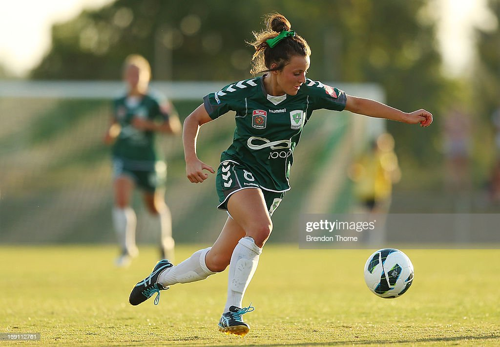 Hayley Raso of Canberra controls the ball during the round 11 W-League match between Canberra United and the Western Sydney Wanderers at McKellar Park on January 8, 2013 in Canberra, Australia.