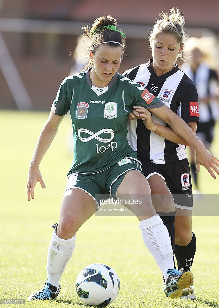 Hayley Raso of Canberra United and Alisha Foote of Newcastle Jets contest possession during the round eight W-League match between Canberra United and the Newcastle Jets at Deakin Football Stadium on December 8, 2012 in Canberra, Australia.