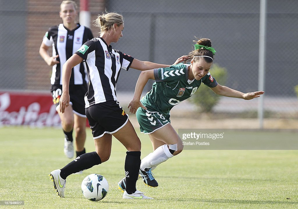 Hayley Raso of Canberra United and Madeline Searl of Newcastle Jets contest possession during the round eight W-League match between Canberra United and the Newcastle Jets at Deakin Football Stadium on December 8, 2012 in Canberra, Australia.