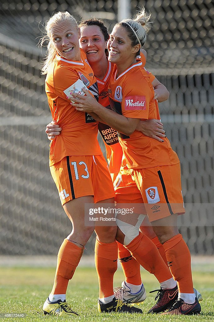 Hayley Raso of the Roar celebrates scoring a goal with team mates during the round three WLeague match between the Brisbane Roar and the Newcastle...