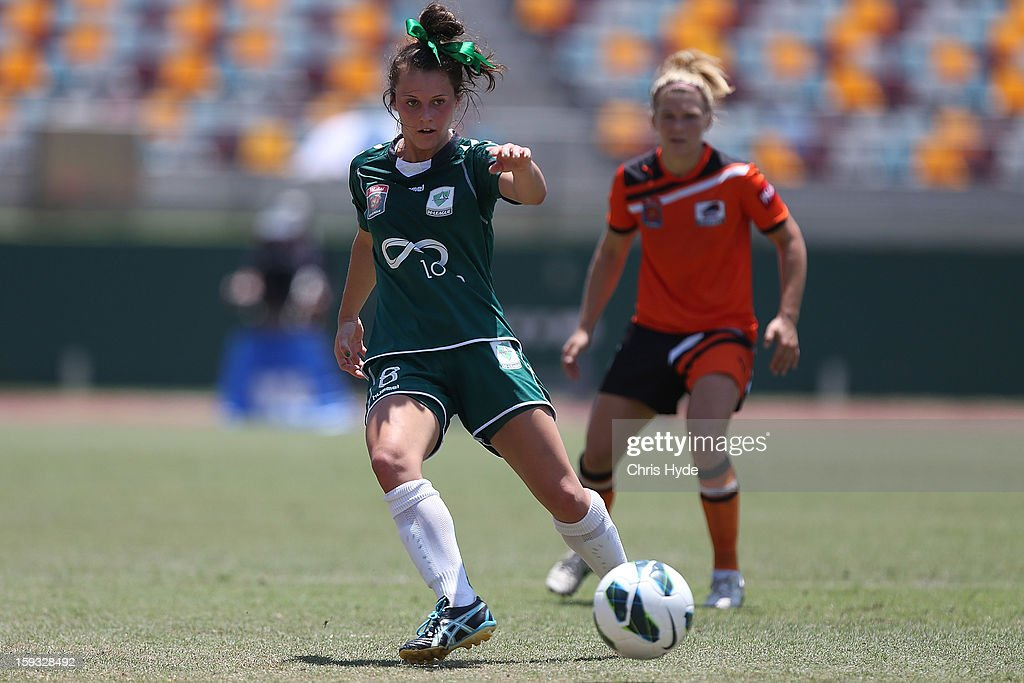 Hayley Raso of United kicks the ball during the round 12 W-League match between the Brisbane Roar and Canberra United at Queensland Sport and Athletics Centre on January 12, 2013 in Brisbane, Australia.