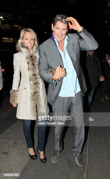 Hayley Roberts and David Hasselhoff are pictured arriving at the Victoria Palace Theatre to watch Billy Elliot on January 10 2012 in London England