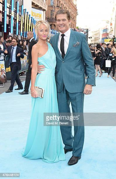 Hayley Roberts and David Hasselhoff attend the European Premiere of 'Entourage' at the Vue West End on June 9 2015 in London England