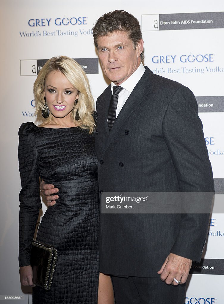 Hayley Roberts and David Hasselhoff attend the Grey Goose Winter Ball at Battersea Power station on November 10, 2012 in London, England.