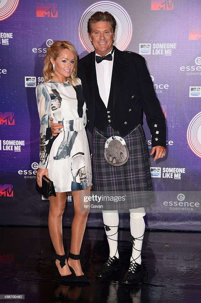 Hayley Roberts and David Hasselhoff attend the MTV EMA's 2014 at The Hydro on November 9, 2014 in Glasgow, Scotland.