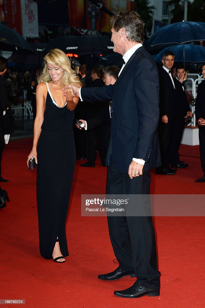 Hayley Roberts and David Hasselhoff attend the Opening Ceremony and 'The Great Gatsby' Premiere during the 66th Annual Cannes Film Festival at the Theatre Lumiere on May 15, 2013 in Cannes, France.