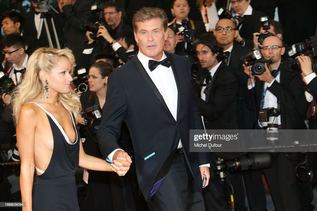 Hayley Roberts and <a gi-track='captionPersonalityLinkClicked' href=/galleries/search?phrase=David+Hasselhoff&family=editorial&specificpeople=209380 ng-click='$event.stopPropagation()'>David Hasselhoff</a> attend the Opening Ceremony and 'The Great Gatsby' Premiere during the 66th Annual Cannes Film Festival on May 15, 2013 in Cannes, France.