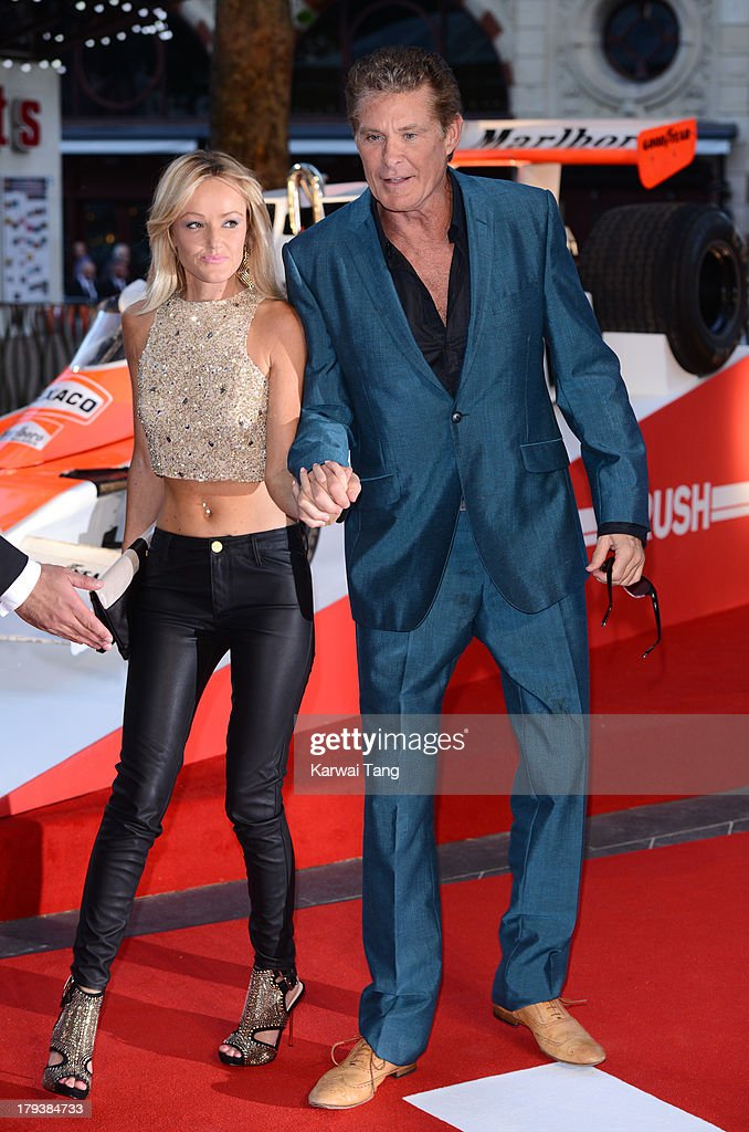 Hayley Roberts and David Hasselhoff attend the World Premiere of 'Rush' at the Odeon Leicester Square on September 2, 2013 in London, England.