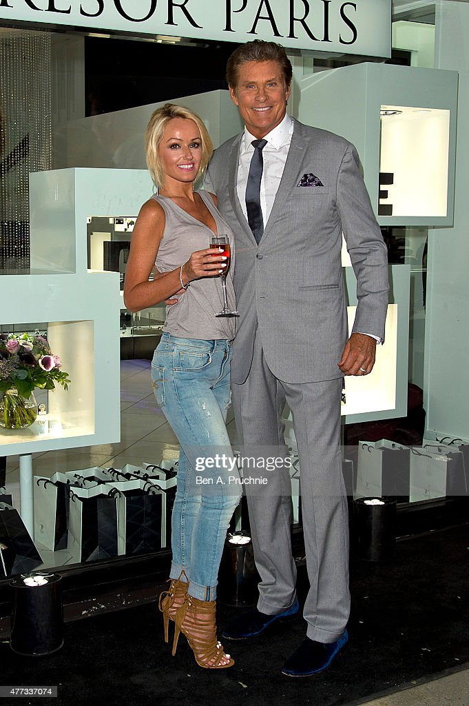 Hayley Roberts and David Hasselhoff attends the Tresor Paris Store launch on June 16, 2015 in London, England.