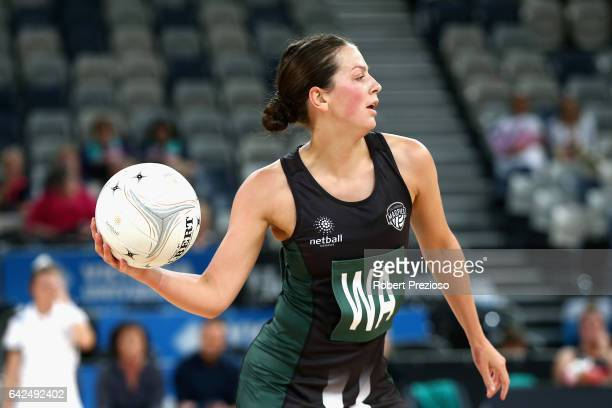 Hayley Sansom of the Magpies looks to make a pass during the round one ANL match between at Vic Fury and the Tasmania Magpies at Hisense Arena on...