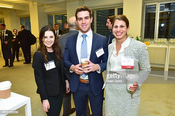 Hayley Schneider Zak Klinvex and Sujata Jhaveri attend The Commercial Observer Financing Commercial Real Estate at 666 Fifth Avenue on November 15...