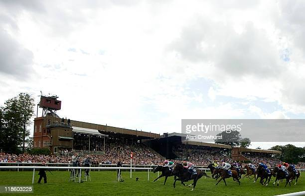 Hayley Turner riding Dream Ahead win The Darley July Cup at Newmarket racecourse on July 09 2011 in Newmarket England