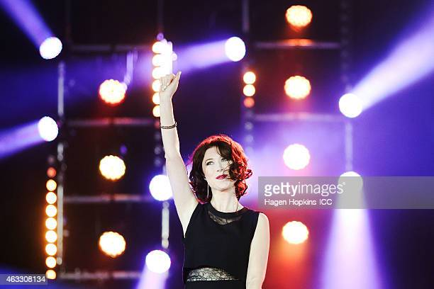 Hayley Westenra performs during the Opening Ceremony ahead of the ICC 2015 Cricket World Cup at Hagley Park on February 12 2015 in Christchurch New...