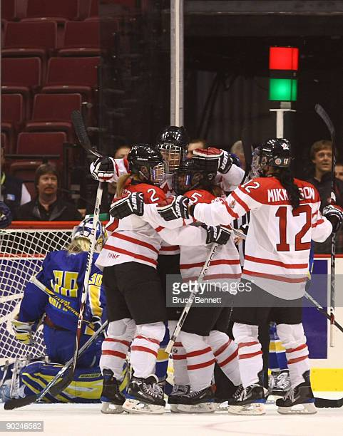 Hayley Wickenheiser of Team Canada celebrates her first period goal against Team Sweden during the Hockey Canada Cup at General Motors Place on...