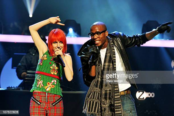 Hayley Williams of Paramore and Bobby Ray Simmons of BoB perform onstage during Z100's Jingle Ball 2010 presented by HM at Madison Square Garden on...