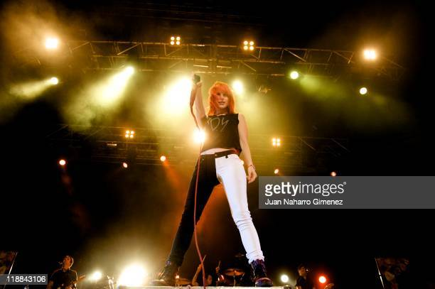 Hayley Williams of Paramore perfoms on stage at Palacio de Vistalegre on July 11 2011 in Madrid Spain