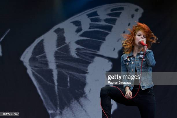 Hayley Williams of Paramore performs at Day 1 of The Hove Festival on June 29 2010 in Arendal Norway