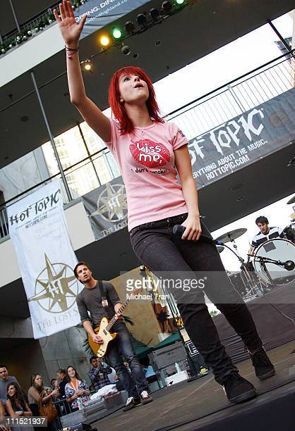 Hayley Williams of Paramore performs onstage in conjunction with the cast of 'Twilight' instore autograph signing at Hot Topic store at Hollywood...