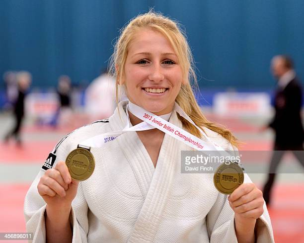 Hayley Willis of Stratford JC proudly shows her Junior and Senior gold medal from the British Junior and Championships Sunday December 15 2013 at the...