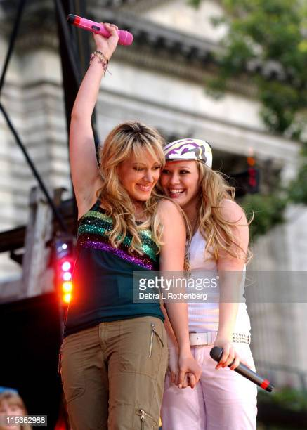 Haylie Duff and Hilary Duff during 'Good Morning America' 2004 Summer Concert Series Hilary Duff with Special Guest Haylie Duff at Bryant Park in New...