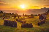 Rural landscape at sunset in Romania