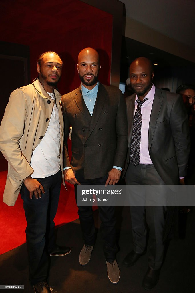 Hayward Armstrong, Common, and Sammi Rotibi attend the Los Angeles premiere screening of 'LUV' at Pacific Design Center on January 10, 2013 in West Hollywood, California.