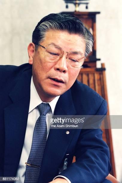 Hazama Corp President Mikio Matsumoto speaks during the Asahi Shimbun interview on July 27 1993 in Tokyo Japan