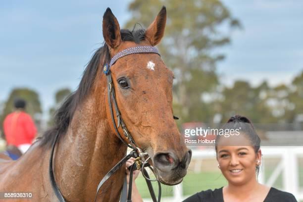 Hazard Ahead after winning the Member for Gippsland East Tim Bull BM64 Handicap at Bairnsdale Racecourse on October 08 2017 in Bairnsdale Australia