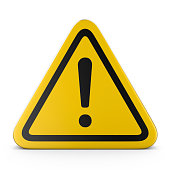 Hazard warning attention sign with exclamation mark symbol, on white background